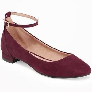 New! Old Navy Sueded Ankle-Strap Ballet Oxblood